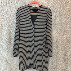 Vila Grey Striped Duster Jacket